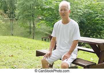 anziano, esterno, maschio, asiatico