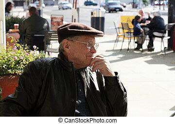 anziano, esterno, uomo