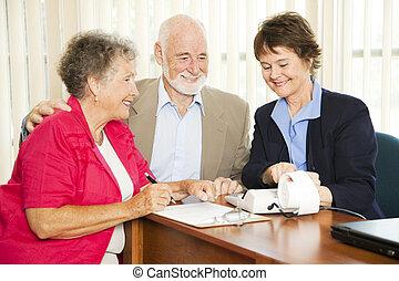 anziano, -, finanza, affari