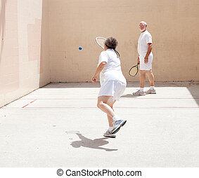 anziano, gioco, coppia, racquetball