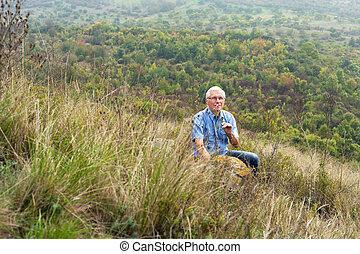 anziano, godere, uomo, natura