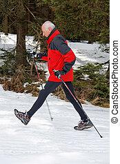 anziano, inverno, camminare, nordico