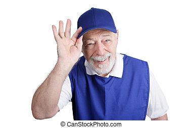 anziano, lavoratore, -, amichevole, greeter