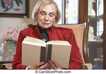 anziano, libro, lettura, donna