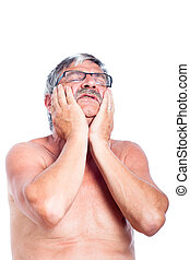 anziano, mal di denti, uomo