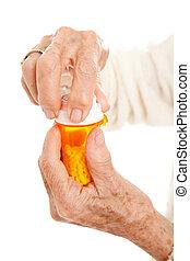 anziano, mani, prescrizione, bottiglia