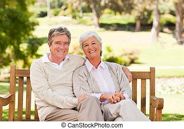 anziano, panca, coppia
