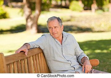 anziano, panca, equipaggi seduta