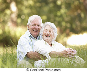 anziano, parco, coppia, seduta