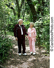 anziano, parco, passeggiatina
