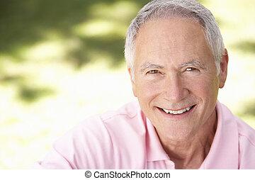 anziano, parco, rilassante, uomo