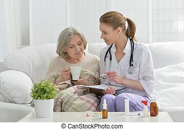 anziano, paziente, lei, dottore