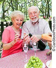 anziano, picnic, coppia