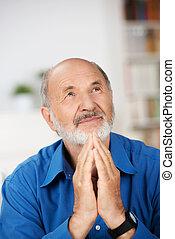 anziano, pregare, religioso, preoccupato, uomo