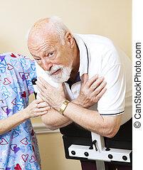anziano, preoccupato, terapia, fisico