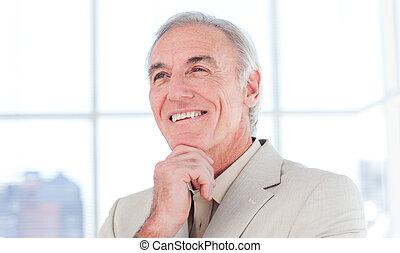 anziano, primo piano, busine