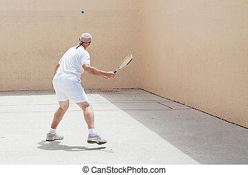 anziano, racquetball, giocatore
