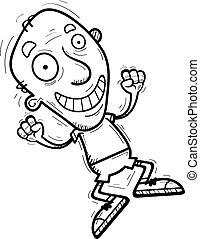 anziano, saltare, cartone animato, cittadino