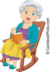 anziano, sedia dondolo