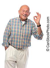 anziano, segno, ok, uomo, mostra