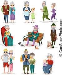 anziano, set, cartone animato, persone