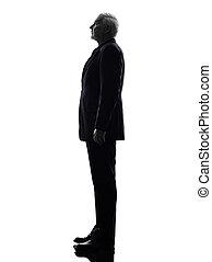 anziano, silhouette, uomo affari