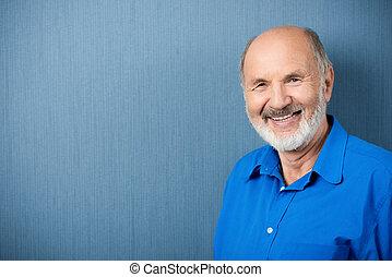 anziano, sorridente, macchina fotografica, caucasico, insegnante