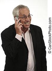 anziano, su, cellphone