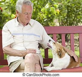 anziano, suo, cane, uomo