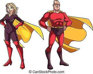 anziano, superhero, coppia, bianco