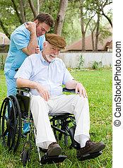 anziano, terapia, massaggio, uomo