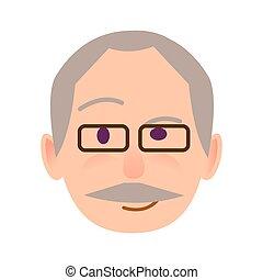 anziano, umano, in, occhiali, con, diffidente, sguardo