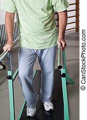 anziano, uomo, terapia,  ambulatory, detenere