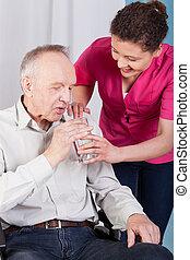 anziano, utile, infermiera