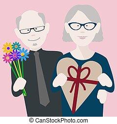 anziano, valentines, coppia