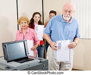 anziano, votante, confuso