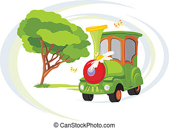 anziehungskraft, train., kinder, park