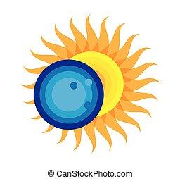 août, éclipse, solaire, 2017, total, 21, icône
