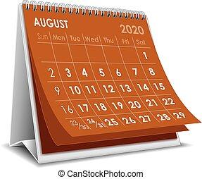 août, 2020, calendrier