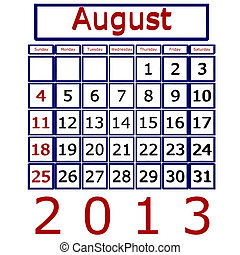 août, calendrier, 2013