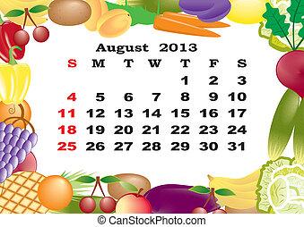 août, mensuel, cadre, -, fruits, calendrier, légumes, 2013
