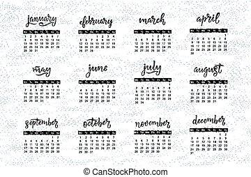 août, organizers., septembre, décembre, juin, octobre, mai, mois, calendriers, janvier, november., juillet, noms, mots, mars, avril, calligraphie, février, manuscrit
