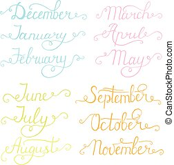 août, organizers., septembre, year:, juin, octobre, mai, mois, calendriers, janvier, november., juillet, mots, mars, avril, calligraphie, février, décembre, manuscrit