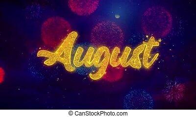 août, texte, feux artifice, salutation, particules, éclat,...