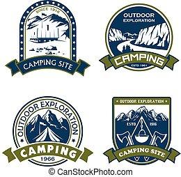 ao ar livre, acampamento, ícones, local, vetorial, aventura