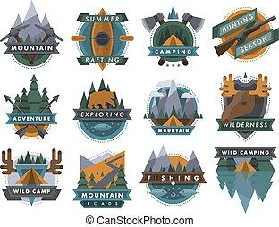 ao ar livre, acampamento, ícones, viagem, vetorial, logotipo, turismo, emblemas