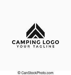 ao ar livre, acampamento, desenho, modelo, logotipo, aventura