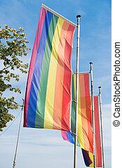 ao ar livre, acceptance., bissexual, celebrando, azul, arco íris, concept., legal, transgender, orgulho, paradas, homossexual, lgbt, lésbica, parade., sky., mastros, direitos, contra, eventos, bandeiras, social