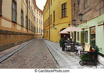 Ao ar livre, antigas, restaurante,  hotel, Praga, rua, pequeno