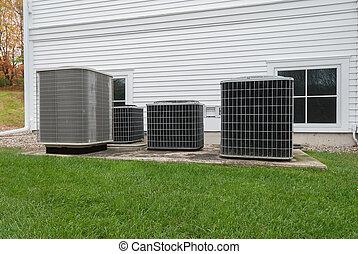 ao ar livre, aquecimento, e, ar condicionado, unidades
